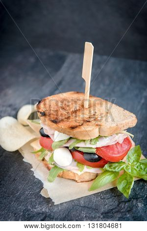 Photos of sandwich time on rustic background