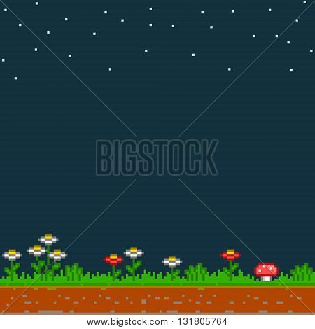 Pixel background lawn and starry night sky. 8-bit video game background and design.
