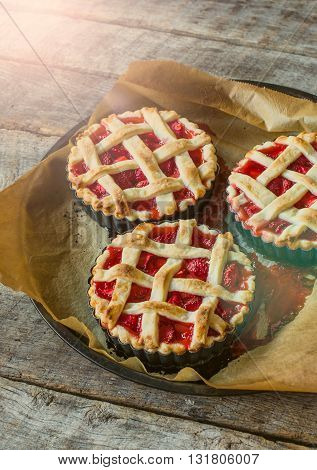 Photos of tart time on rustic background