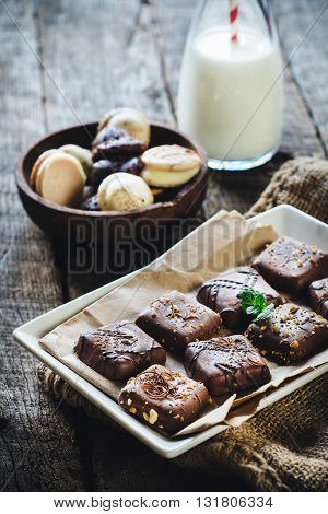 Photos of variety biscuits on rustic background