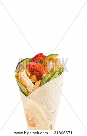 Photos of wrap sandwich on rustic background