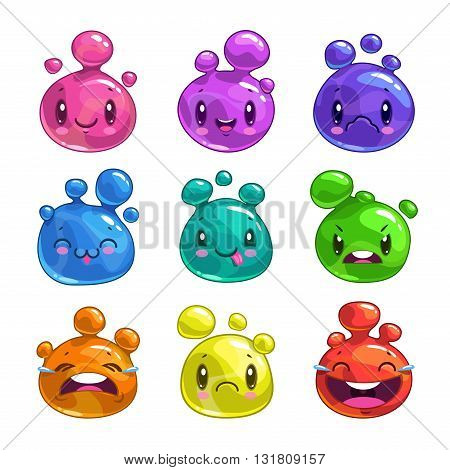 Funny cartoon colorful little bubble characters, cute jelly creatures, vector game assets, isolated on white