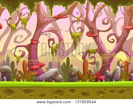 Fantasy cartoon forest seamless landscape, ready for game animation, vector game background with separated layers for parallax effect, game design asset, cool fantastic nature background