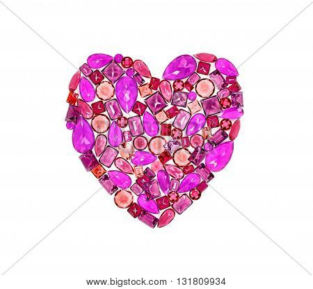 Fashion gemstone heart shape.Luxury shiny glamor colorful placer. Awesome precious stones, mosaic, multicolored creative unusual party decoration. Love concept.Celebration holiday background, isolated