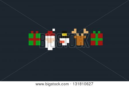 Set of pixel art christmas signs and characters: gift Santa reindeer and snowman