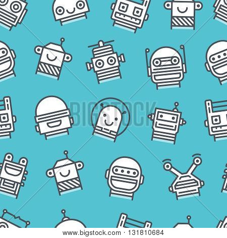 Seamless background with outline icons of robot faces