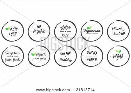 vector set of icons of Organic Healthy Vegan Vegetarian Raw GMO Gluten free Food grey circle logo symbols on white background