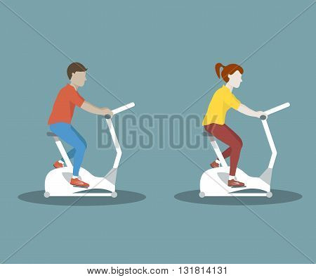 Couple woman and man doing cycling exercise. Bike trainer icon. Vector flat design illustration.