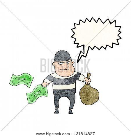 freehand speech bubble textured cartoon bank robber