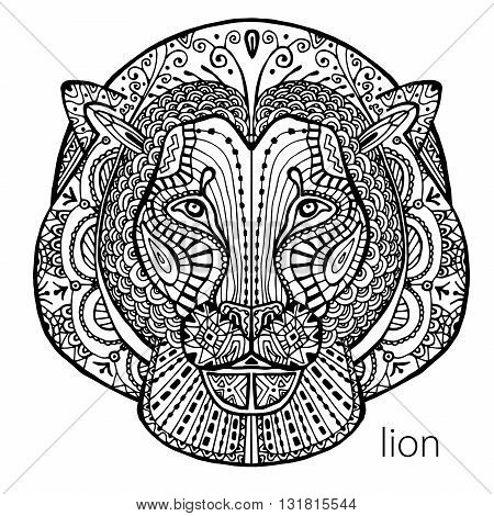 The black and white lion print with ethnic patterns. Coloring book for adults antistress. Art therapy, zenart, meditaion. The image on the fabric, tattoo, vector