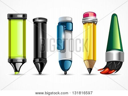 Stationery set with five objects for school
