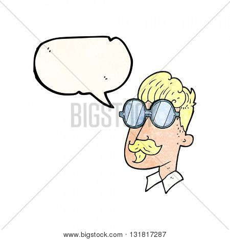 freehand speech bubble textured cartoon man with mustache and spectacles