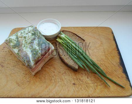 Salty lard – a national product of Belarusian cuisine. Salty lard is cold appetizer.