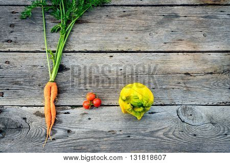 Trendy ugly organic carrot tomatos and ugly lemon from home garden bed on barn wood table Australian grown.