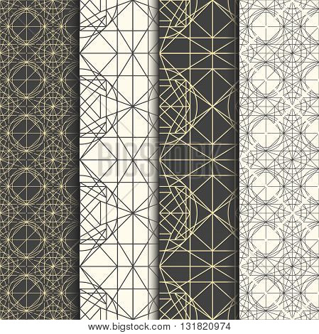 Set of geometrical thin line hipster monochrome patterns. Decoration graphic in mono line style. Simple abstract ornamental gray and gold illustration. Linear art deco vintage hipster style.