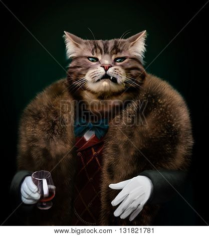 Portrait of Gangster boss Pet in fur coat with bow and white gloves with whisky glass. Nasty Godfather-like character with a cold mean stare looking at the camera with a sneer. Contemptuous glance concept. Rich cat pulling disdainful face of disgust. Hedo