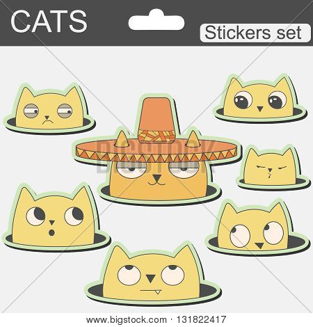 cute cartoon stickers cats in hat. illustration for children. Vector image.
