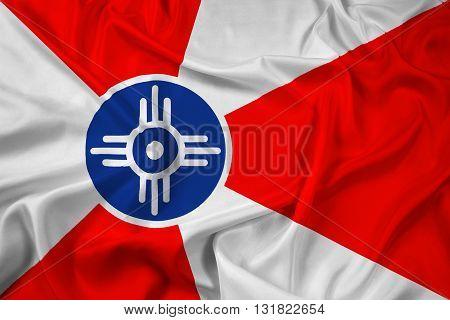Waving Flag of Wichita Kansas, with beautiful satin background