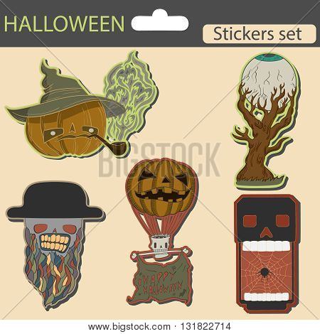 halloween stickers set. scary elements for celebration