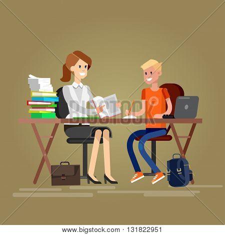 Woman teacher tutor tutoring boy kid at home. Mother helping son with homework. Flat teacher, style vector teacher, teacher illustration