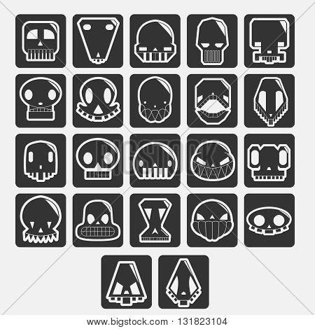 white skulls cartoon set. elements for avatar or halloween