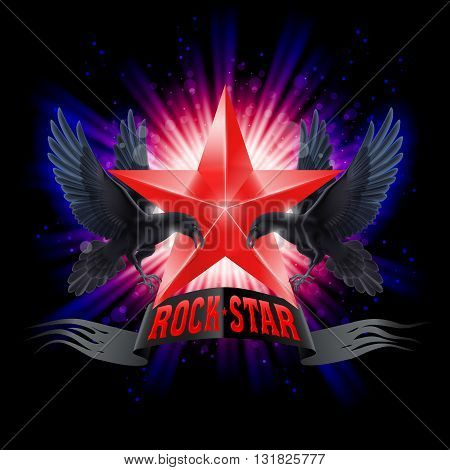Red Rock Star banner with two ravens over shining background