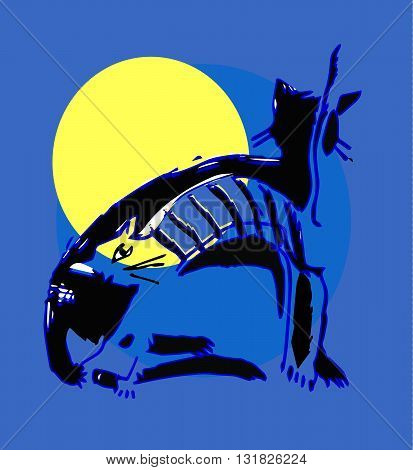 Two cats in the moonlight. Funny original creative vector illustration for web design and Polygraphy