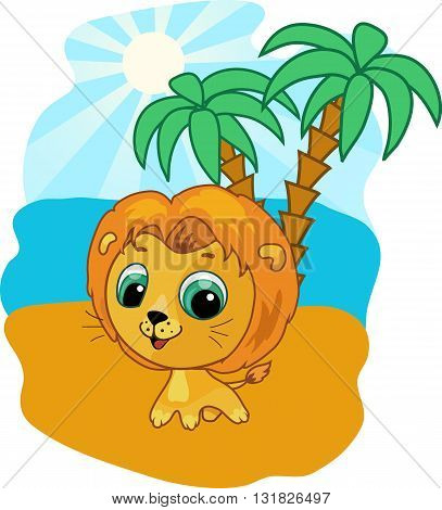 Cute baby lion vector illustration. Funny zoo