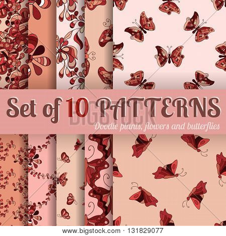Set of 10 seamless patterns - doodle plants flowers and butterflies. Hand-drawn vector illustration