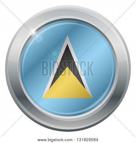 St. Lucia Flag Silver Icon