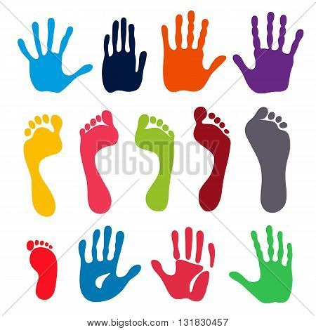 Vector illustration colored generation hand and foot prints isolated on white background. Created in Adobe Illustrator. EPS 8.