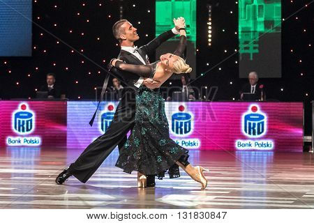 Wroclaw, Poland - May 14, 2016: Bjorn Bitsch And Ashli Williamson In Dance Pose During World Dance S
