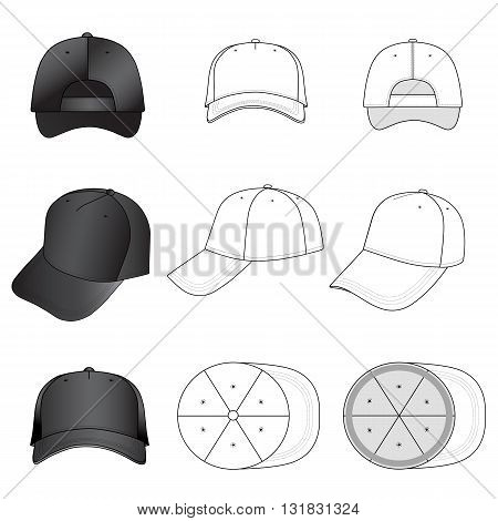 Baseball tennis cap set illustration featured front back side top vector illustration isolated on white background