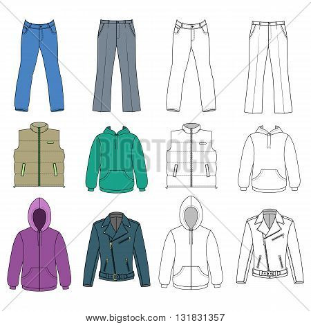 Man clothes colored autumn collection vector illustration isolated on white background
