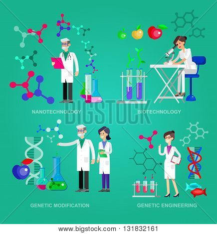 Detailed character men woman scientis, laboratory technician scientis looking through a microscope, Biotechnology scientis, genetic engineering scientis, nanotechnology and genetic modification scientis