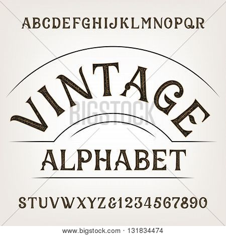 Vintage alphabet. Retro distressed alphabet vector font. Hand drawn letters and numbers. Vintage vector font for labels, headlines, posters etc.