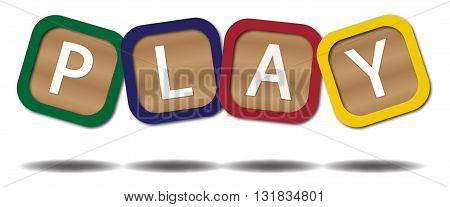 Kids blocks spelling play isolated on a white background