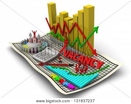 Change in unemployment. Golden charts with arrows of change data indicators electronic calculator a red pencil symbol of man round diagram red word vacancy on the sheet in a cage. The concept of change in the unemployment rate. Isolated. 3D Illustration