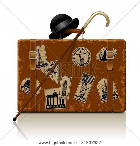 Vintage brown threadbare suitcase with walking stick, bowler hat and retro vacation & travel labels set. Contain the Clipping Path