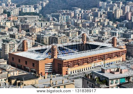GENOA, ITALY - MARCH 9 2013: Aerial view of the stadium of Genoa, located in the Marassi district