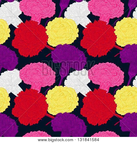 Seamless pattern of cloves. Large bright buds carnations. Randomly scattered flowers on a dark background.