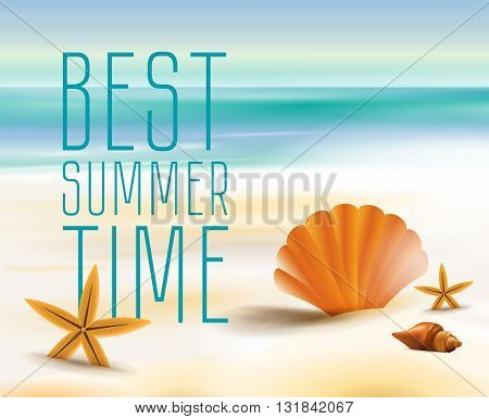 Sandy beach cost on a background of the ocean or sea. On a Sunny summer day the beach season and sea shell. Vector illustration.
