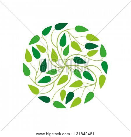 Vector simple round floral design.