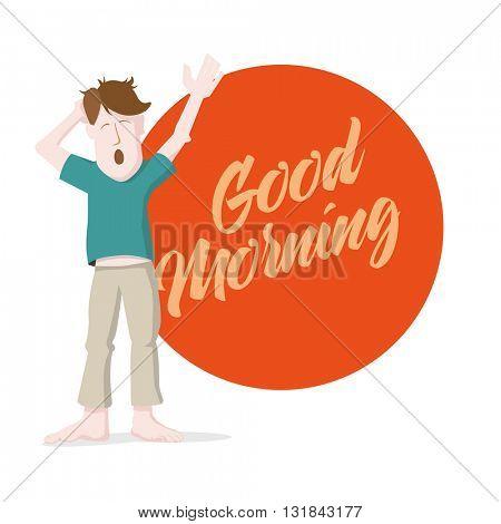 Yawning man giving morning message.