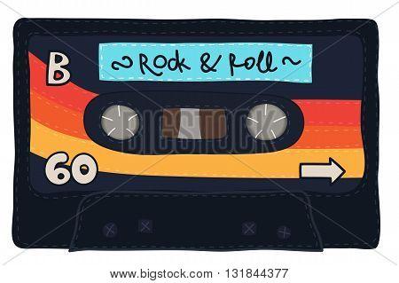 Vintage Cassette Tape Stitched Together