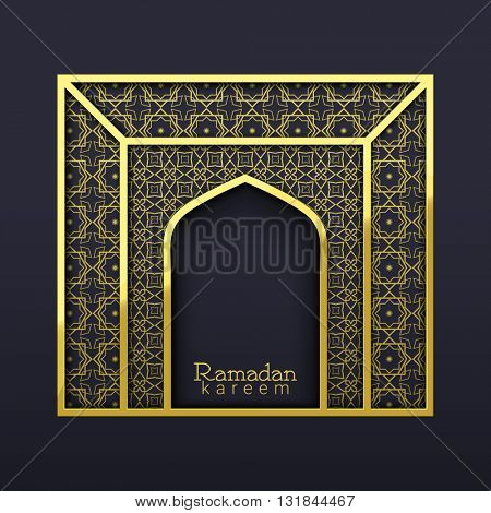 Golden Arabic ornaments decorated Arch on grey background for Islamic Holy Month of Prayer, Ramadan Kareem celebration.