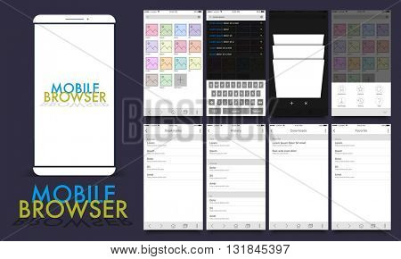 Material Design UI, UX, GUI template layout for Mobile Browsing Apps including Gallery, Bookmark, History and Favorite Screens for responsive website and e-commerce business concept.