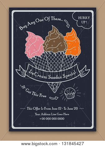 Ice Cream Template, Banner, Flyer or Menu Card design with Special Offer. Creative background with illustration of sweet delicious ice cream.