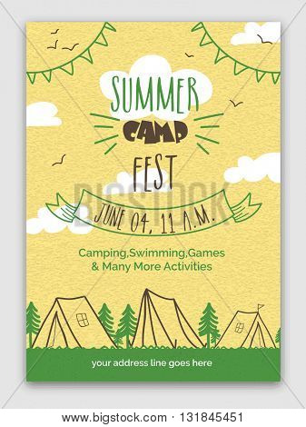 Summer Camp Fest Template, Banner, Flyer or Invitation Card design with date, time and activities details.