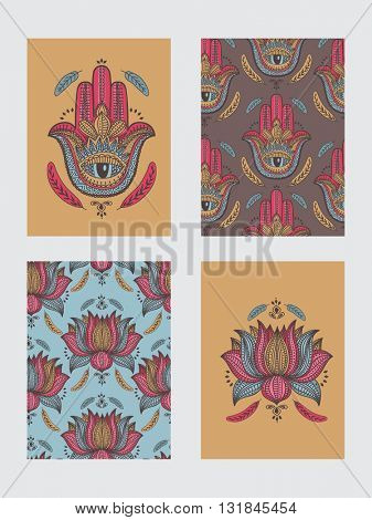 Creative Boho style cards set with ethnic elements like Hamsa Hand, Textured Feathers and Ornamental Lotus Flower, Hand drawn greeting card or invitation card design.